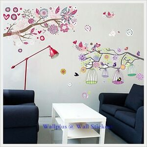Flowers Tree Birdcage Wall Stickers Mural Children Wallpaper Kids Girls Decals