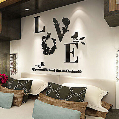 Love Mirror Quote Removable 3D Wall Sticker Decal Living Room Home Decor 5 Color