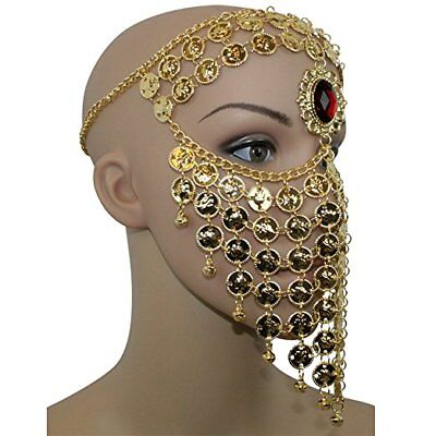 Red Gem Belly Dance Costume Headwear Coins Face Mask Veil Tribal Bedouin Burka