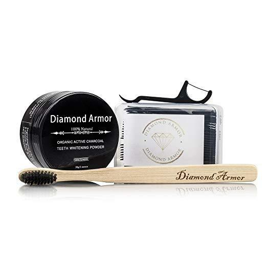 Diamond Armor Activated Charcoal Teeth Whitening Powder Toot