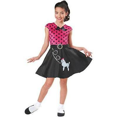 NEW SOCK HOP SWEETIE Girls S 4-6 Poodle Skirt 50s Halloween Costume Pink Black - 50s Costume Girls