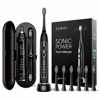 Oral Care Sonic Electric Toothbrush Rechargeable Travel Case 6 Brush Heads 5Mode