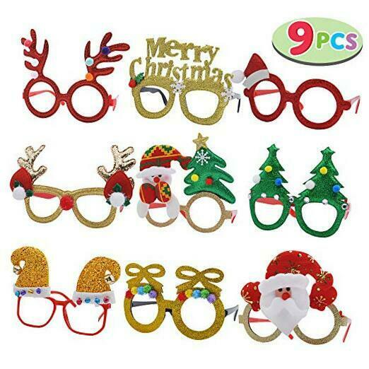 Pack of 9 Christmas Glasses Frame Costume Eyeglasses for Christmas Party