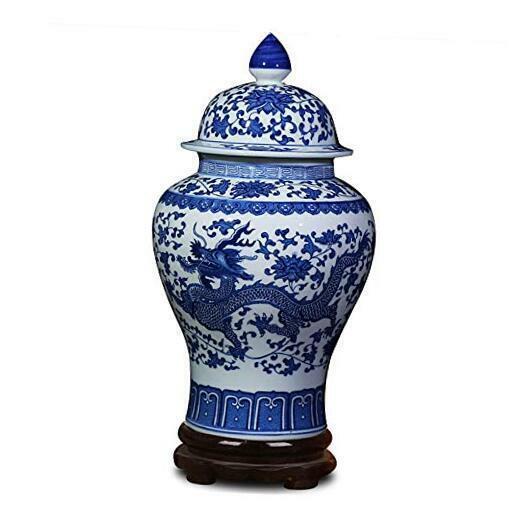 Jingdezhen Classic Blue and White Porcelain Dragon Temple Ceramic Ginger Jar
