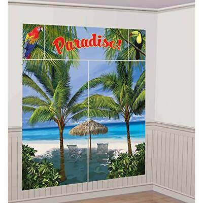 PARADISE LUAU SCENE SETTER Party Wall Decoration Beach Palm Trees Backdrop Ocean - Luau Background