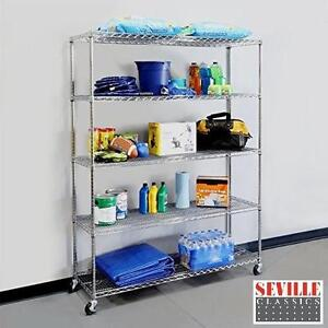 NEW SEVILLE CLASSIC 5 TIER SHELVING CHROME FINISH WIRE SHELVES WITH WHEELS - STORAGE ORGANIZATION PORTABLE MOBILE