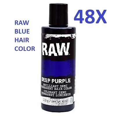 MASSIVE DISCOUNT, 48 Raw Blue Demi-Permanent Long Lasting Temporary Hair Dye - Blue Hair Dye Temporary