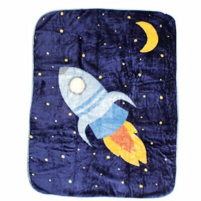 LUVABLE FRIENDS LUXE PLUSH FLEECE BABY BOY BLANKET OUTER SPACE ROCKET NEW NWT