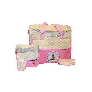 Todd Baby 5pc Bottle Food Bag Holder Set Diaper Nappy Changing Stylish Designed Strap Baby-Care Shoulder Bag (Pink)