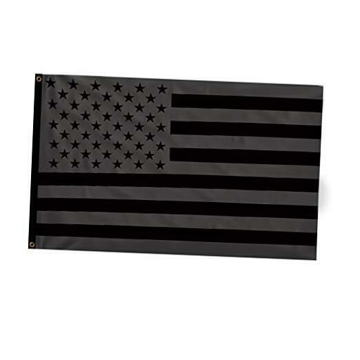 All Black American Flag Vivid Color and Fade Proof - Double