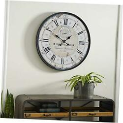 Deco 79 Round Rustic Black Iron & Wood Antique Roman Numeral Wall Clock, 32