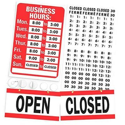 Open Closed Sign Business Hours Sign Kit - Bright Red And White Colors -