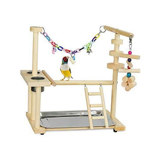 Bird Playground Parrot Playstand Bird Play Stand Wood Perch Gym Playpen