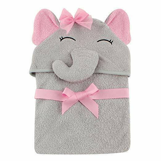 Hudson Baby Unisex Baby Animal Face Hooded Towel, Pretty Ele
