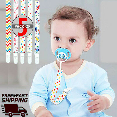 Baby Pacifier Clip 5-Pack, Babies Holder- Safe Strap/Leash - Lead free - [USA] (Baby Pacifier Holder Clip)