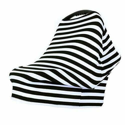 Black and White Striped Stretch Car Seat Cover Nursing Cover Shaw Wrap