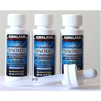 Kirkland Minoxidil Extra Strength 3 Month Supply w/Dropper Mens Hair Loss Treatment Regrowth