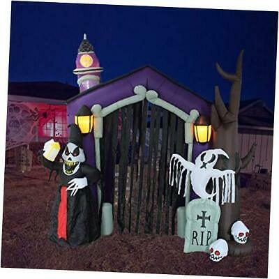 8.5 Foot Halloween Inflatable Haunted House Castle with Skeletons, Ghost and Sku
