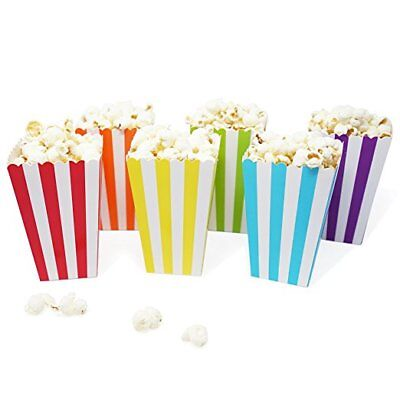 Party Favor Popcorn Boxes (36 Rainbow Stripe Mini Popcorn Candy Carnival Birthday Party Favor)
