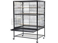 "Black 52"" Large Bird Cage on Wheels pet with Perch Stand. New unused."