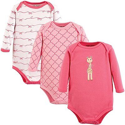 Luvable Friends Baby Girls 3 Pack Pink Giraffe Long Sleeve Bodysuit Cute