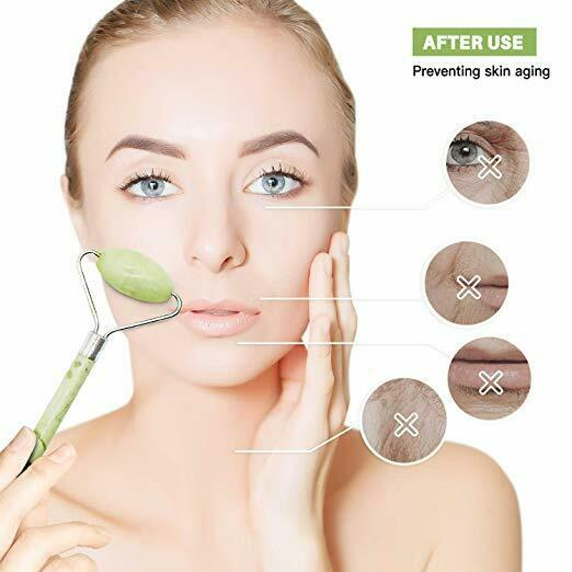 Natural Jade Roller Gua Sha Lymphatic Drainage Tool for Face Neck, Body Anti age 5