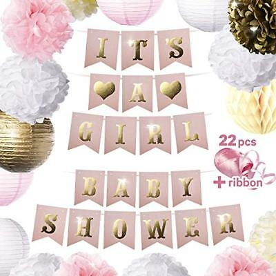 Baby Shower Garland (Baby Shower Decorations BABY SHOWER  IT'S A GIRL Garland Bunting Banner)