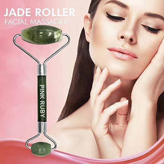 Pink Ruby Beauty Double Jade Roller Anti Aging Facial Massager | Skincare Therap 8
