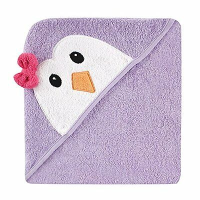 Luvable Friends Animal Face Hooded Towel, Purple Penguin 100% Cotton Terry