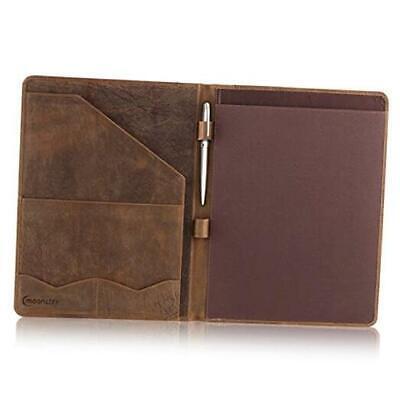 Leather Portfolio Professional Organizer Padfolio Resume Folder Russet Brown