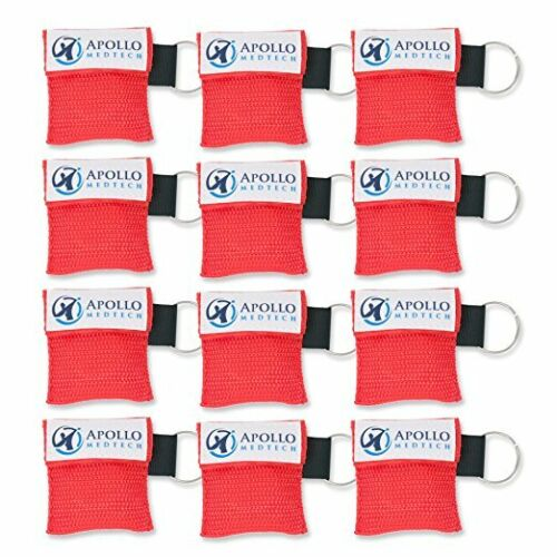 12 Pack - Key Ring Cpr Mask - Emergency Face Shield With One-way Valve