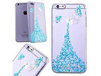 "iPhone 6s 6 Case (4.7"") Bling Glitter Case, Blue Stars, Transparent & Flexible,Protective,Ultra Slim"