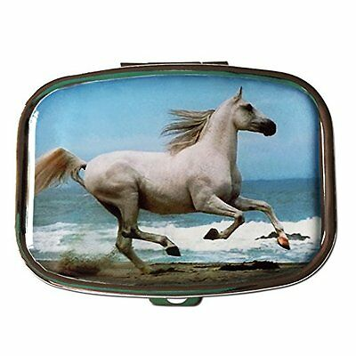 White Horse Two-Section Small Gift Pocket Purse Travel Pill Vitamin Box Case  (Small Horses)