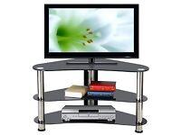 Corner TV stand Stylish Curved black glass