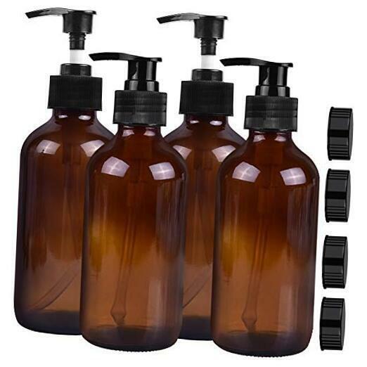 Empty Amber Glass Pump Bottles, 8oz Pump Bottles,Pack of 4,Refillable