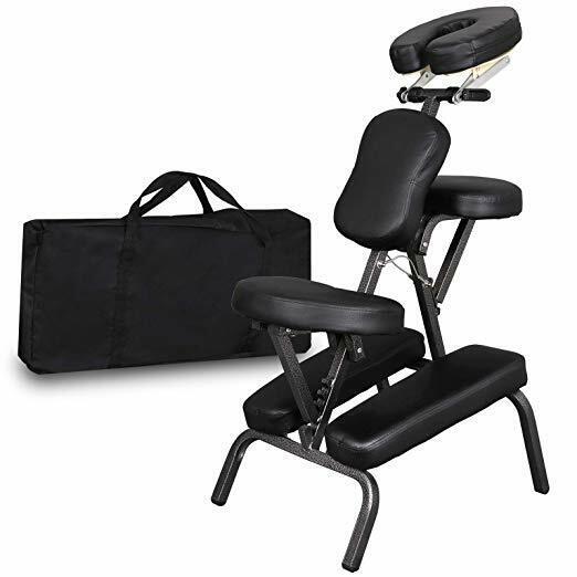 PU Leather Pad Travel Tattoo Spa Portable Folding Salon Massage Chair Black Health & Beauty