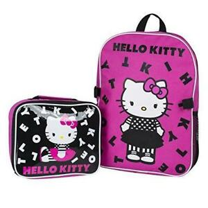 "Sanrio Hello Kitty 15"" Backpack + Insulated Lunch Bag Official Licensed"