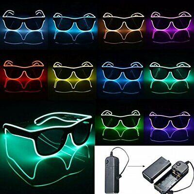 El Wire LED Neon Party Sonnenbrille Leuchtbrille Festival Leuchten Glasses DHL