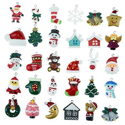 30pcs Christmas Mini Ornaments, Resin Ornaments Miniature Ornaments for Mini
