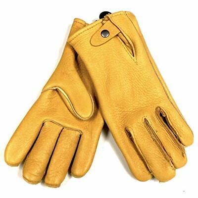 Geier Handmade Heavy Duty Elkskin Leather Driving Work Gloves Snap Button Backs