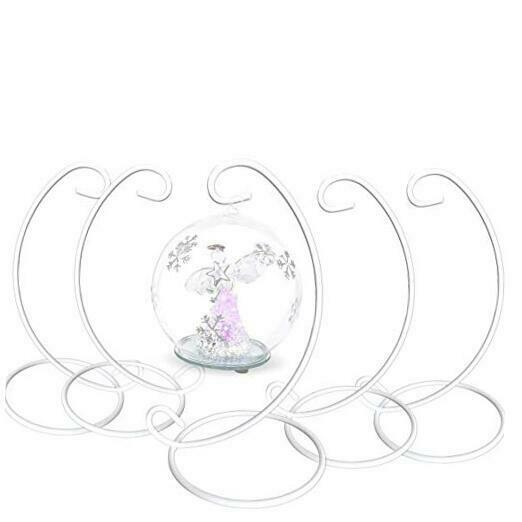 Ornament Display Stands Racks - Set of 5 Wrought Iron White– 9 inches Tall-