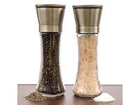Salt & Pepper Glass Grinder Set - New & Boxed - Great Gift RRP £12