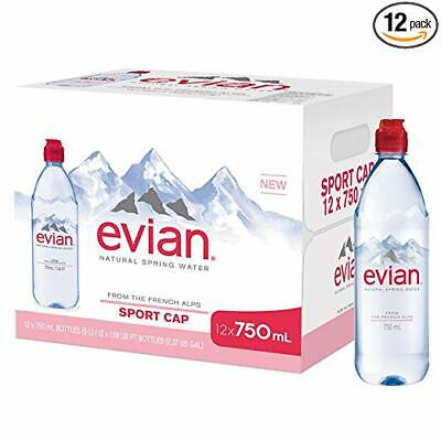 evian Natural Spring Water Individual 750 ml (25.4 oz.) Bottle with Sport Cap -