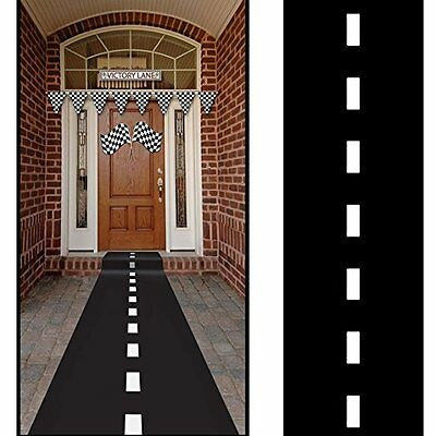 Nascar Racetrack Floor Runner Black Polyblend  Cars Birthday Party Theme Decor - Cars Birthday Decorations