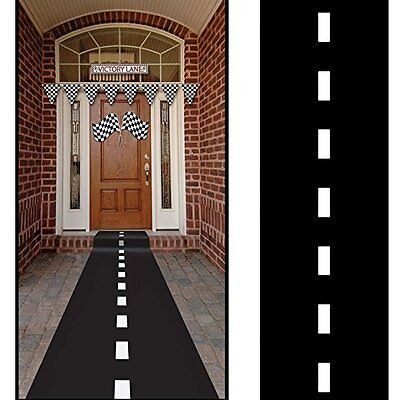 Nascar Racetrack Floor Runner Black Polyblend  Cars Birthday Party Theme - Cars Birthday Party Theme