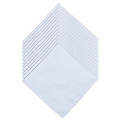 Ohuhu Men's White 100% Cotton Soft Finish Handkerchiefs Pocket Square Hankies