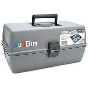 ArtBin Upscale Tool Box with Metal Links, Slate Grey, 3-Tray