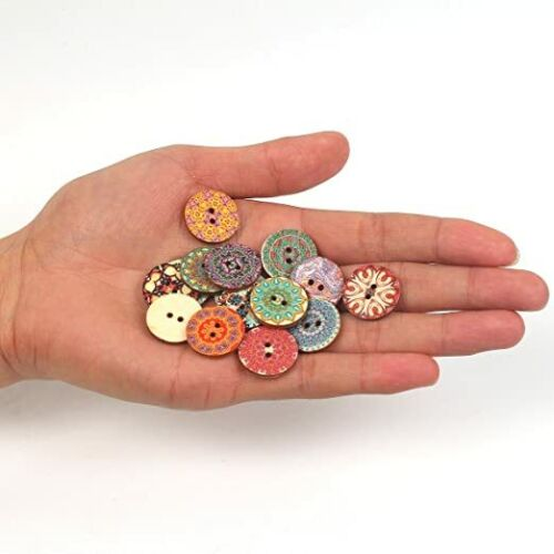 100pcs Mixed Random Flower Painting Round 2 Holes Wood Wooden Buttons 20mm