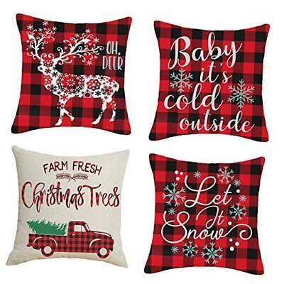 20x20 Christmas Throw Pillow Covers, Decorative Outdoor Farmhouse Merry Christm
