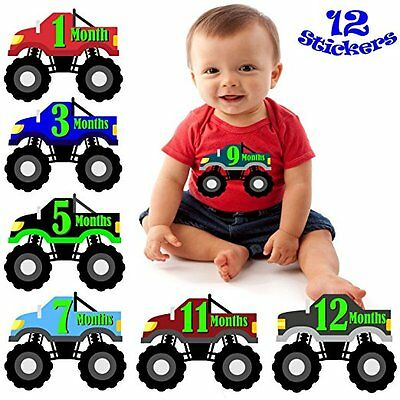 Baby Boy Monthly Milestone Stickers New Monster Truck Shower Gift Months 1 12